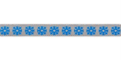 Металлизированная лента c новогодним рисунком 15 мм  1 м