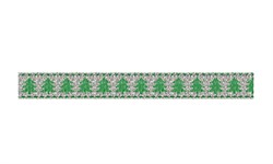 Металлизированная лента c новогодним рисунком 25 мм  1 м
