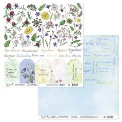 """Бумага для скрапбукинга двусторонняя """"Цветочный атлас. Полевые цветы.""""  30.5 х 30.5 см (лист для вырезания )1 шт"""