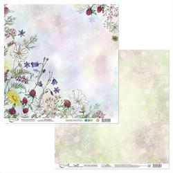 """Бумага для скрапбукинга двусторонняя """"Цветочный атлас. Полевые цветы."""" 30.5 х 30.5 см 1 лист"""