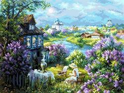 "Рисунок на канве ""Утро в деревне"" 37 х 49 см ""Матренин Посад"""