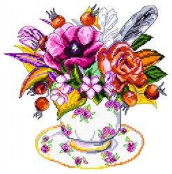 """Рисунок на канве """"Шиповник в чашке"""" 28х37 см """"Матренин Посад"""""""