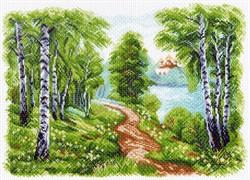 """Рисунок на канве """"Храм у озера"""" 37х49 см """"Матренин Посад"""""""
