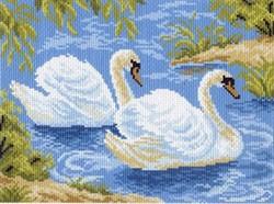"""Рисунок на канве """"Тундровые лебеди"""" 28*37 см  """"Матренин Посад"""""""