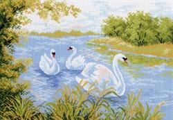 "Рисунок на канве ""Лебединое озеро"" 37 см х 49 см  ""Матренин Посад"""