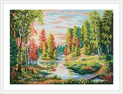 """Канва с рисунком """"Рассвет в лесу"""" 40 х 50 см """"М. П. Студия"""""""