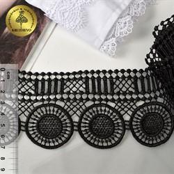 Кружево гипюр 70 мм цв.черный  1 м