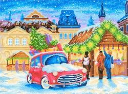 """Канва с рисунком  """"Рождественская ярмарка"""" 40 х 50 см """"М. П. Студия"""""""