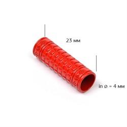 Наконечник для шнура металлический  (отв.4 мм) цв. красный 1 шт
