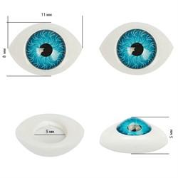 Глаза овальные выпуклые цветные  11 мм цвет голубой  1 пара