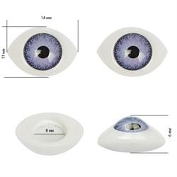 Глаза овальные выпуклые цветные  14 мм цвет фиолетовый 1 пара