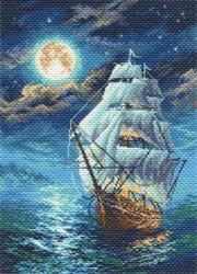 """Рисунок на канве  """"Ночной морской пейзаж"""" 37х49 см  """"Матренин Посад"""""""