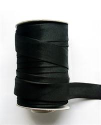 Косая бейка 17 мм  атласная черная    1м
