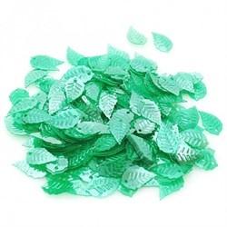 """Пайетки """"листик"""" цвет: зеленый  29  х 11 мм  1 п."""