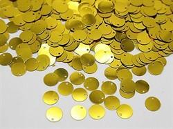 """Пайетки круглые со смещенным центром """"металлик"""" 8 мм цвет: золото  1 п."""