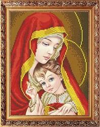 """Рисунок на габардине """"Богородица с младенцем в красном"""" 20х25 см  """"Славяночка"""""""