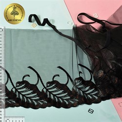 Кружево вышивка на сетке 250 мм цвет 170 черный 1 м