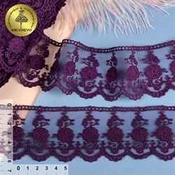 Кружево на сетке 60 мм цвет 168 фиолетовый 1 м