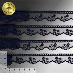 Кружево на сетке 20 мм цвет 242 темно-синий 1 м