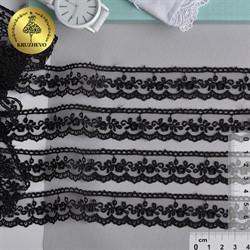 Кружево на сетке 25 мм цвет 05 черный 1 м