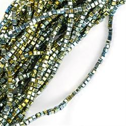 Бусины граненые (стекло)  2 мм цвет 81 мульти  10 шт